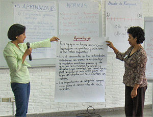 Train-the-trainer program in action with local municipality leaders in El Salvador.