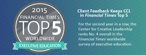 Center for Creative Leadership Claims Top 5 Financial Times Ranking